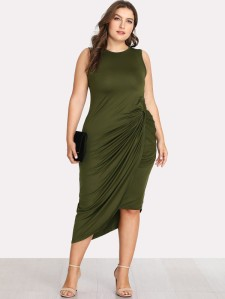 Asymmetrical Hem Twist Side Dress