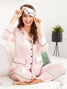 Contrast Binding Pajama Set With Eye Mask