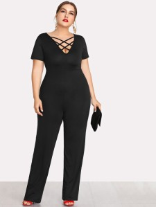 Deep V Neckline Criss Cross Jumpsuit