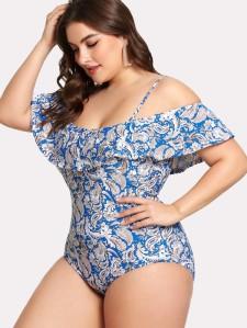 Paisley Print Flounce Swimsuit