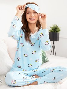 Panda Print Pajama Set With Eye Mask