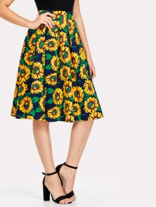 Random Sunflowers Print Skirt