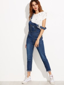 Ripped Denim Dungarees With Pocket