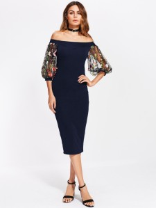 SHEIN Bardot Dress With Embroidered Mesh Puff Sleeve