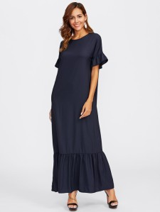 SHEIN Bell Sleeve Tiered Hem Full Length Dress