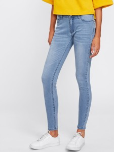 SHEIN Bleached Wash Skinny Jeans