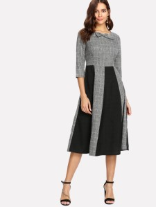 SHEIN Bow Neck Contrast Panel Grid Dress