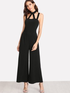 SHEIN Caged Front Solid Wide Leg Jumpsuit
