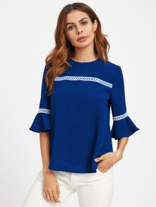 SHEIN Crochet Detail Fluted Sleeve Blouse