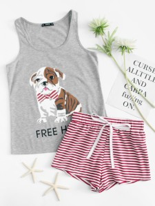 SHEIN Dog Print Tee And Striped Shorts PJ Set