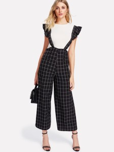 SHEIN Double Breasted Palazzo Pants With Ruffle Strap