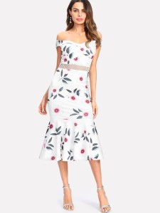 SHEIN Eyelet Lace Waist Off Shoulder Floral Dress