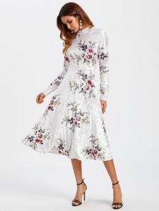 SHEIN Floral Crushed Velvet Fitted & Flared Dress