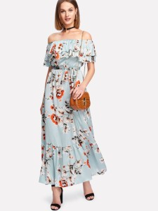 SHEIN Flounce Layered Neckline Floral Dress