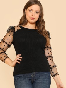 SHEIN Frilled Dot Mesh Sleeve Fitted T-Shirt