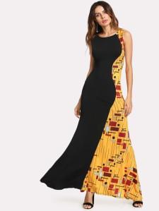 SHEIN Geo Print Panel Fishtail Dress