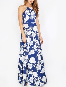 SHEIN Halterneck Floral Print Maxi Dress