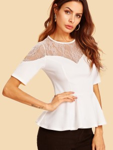 SHEIN Lace Sweetheart Peplum Top