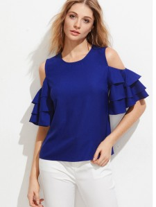 SHEIN Open Shoulder Layered Bell Sleeve Top