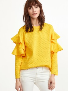 SHEIN Polka Dot Embossed Layered Ruffle Sleeve Blouse