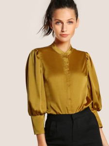 SHEIN Puff Sleeve Slim Fit Blouse