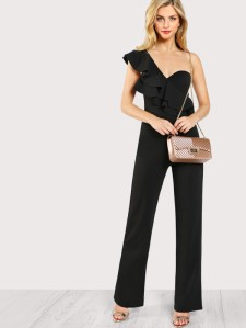 SHEIN Ruffle Accent Single Shoulder Bustier Jumpsuit