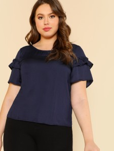 SHEIN Ruffle Detail Sleeve Solid Blouse