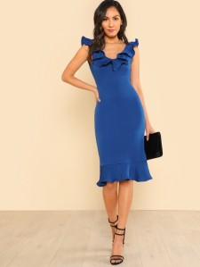 SHEIN Ruffle Neck And Hem Fitted Dress