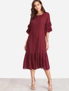 SHEIN Ruffle Sleeve And Hem Dress