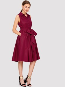SHEIN Self Belted Shirt Dress