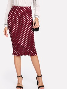 SHEIN Slit Back Ruffle Hem Polka Dot Skirt