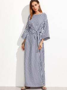 SHEIN Striped Self Tie Roll Cuff Maxi Dress