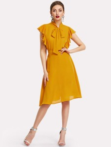 SHEIN Tie Neck Flutter Sleeve Top & Skirt Set