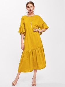 SHEIN Trumpet Sleeve Tiered Hem Dress