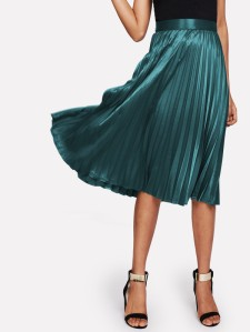 SHEIN Zip Closure Pleated Satin Skirt