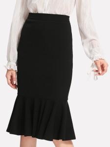 SHEIN Zip Side Ruffle Hem Bodycon Skirt