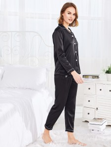 Slogan Embroidery Contrast Piping Satin PJ Set