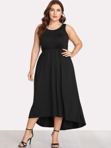 Solid Color Dip Hem Dress