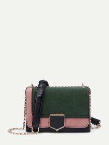 Two Tone PU Flap Crossbody Bag